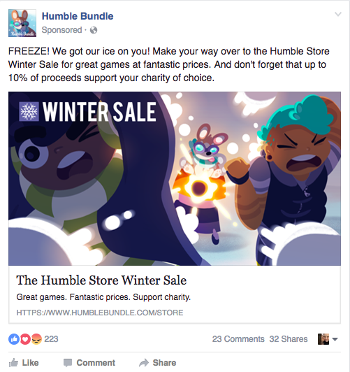 An Example of Facebook Advertising - The Humble Bundle
